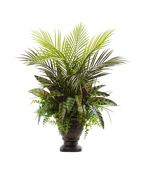 """Nearly Natural 27"""" Mixed Areca Palm, Fern & Peacock Artificial Plants in Planter"""