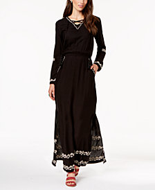 NY Collection Petite Embroidered Maxi Dress