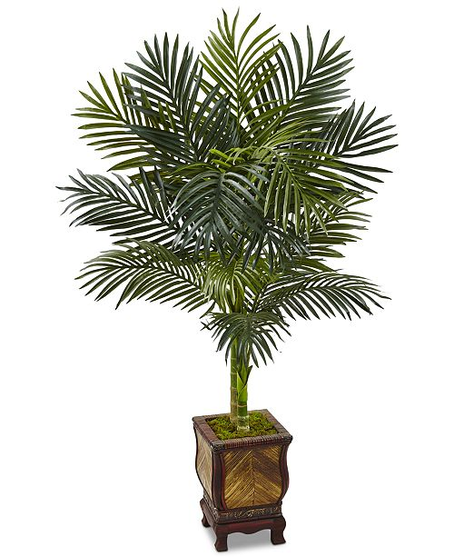 Nearly Natural 4.5' Golden Cane Palm Artificial Tree in Decorative Wood Planter