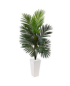 Nearly Natural 4.5' Kentia Palm Artificial Tree in White Tower Planter
