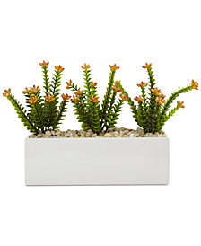 Nearly Natural Flowering Sedum Artificial Plants in Rectangular Planter