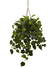 Nearly Natural Philodendron UV-Resistant Indoor/Outdoor Artificial Plant Hanging Basket
