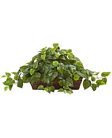 Nearly Natural Pothos Artificial Plant in Ledge Basket