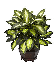 Nearly Natural Triple Golden Dieffenbachia Artificial Plant in Wood Vase