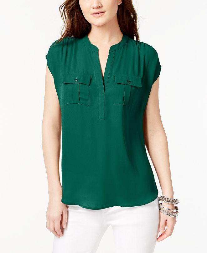 INC International Concepts INC Split Neck Utility Shirt, Created for Macy's