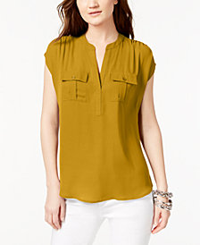 I.N.C. International Concepts Mixed-Media Utility Shirt, Created for Macy's