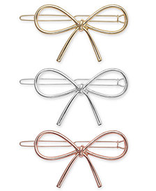 I.N.C. Tri-Tone 3-Pc. Set Bow Barrettes, Created for Macy's