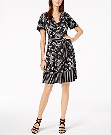 Monteau Petite Belted Mixed-Print Dress