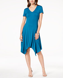 I.N.C. Short-Sleeve Handkerchief-Hem Dress, Created for Macy's