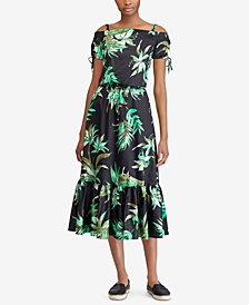 Lauren Ralph Lauren Petite Floral-Print Cotton Off-The-Shoulder Dress