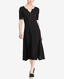 Lauren Ralph Lauren Petite Waffle-Knit Cotton Midi Dress