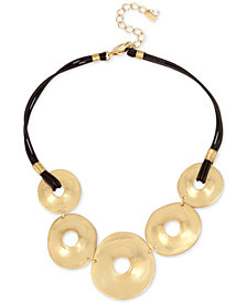 "Robert Lee Morris Soho Gold-Tone Disc & Leather Statement Necklace, 18"" + 3"" extender"