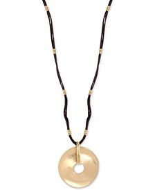 "Robert Lee Morris Soho Gold-Tone Disc & Leather Pendant Necklace, 28"" + 3"" extender"
