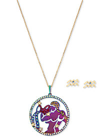 "Betsey Johnson Two-Tone Multi-Stone Aquarius Zodiac Pendant Necklace & Stud Earrings Set, 21-1/2"" + 3"" extender"