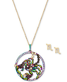 "Betsey Johnson Two-Tone Multi-Stone Scorpio Zodiac Pendant Necklace & Stud Earrings Set, 21-1/2"" + 3"" extender"