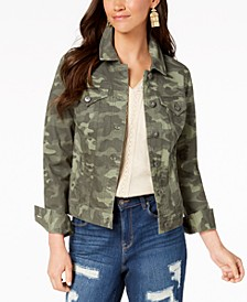 Petite Printed Denim Jacket, Created for Macy's