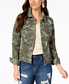 Style & Co Petite Cotton Camouflage Denim Jacket, Created for Macy's