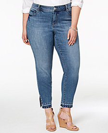 I.N.C. Plus Size Studded Skinny-Leg Jeans, Created for Macy's