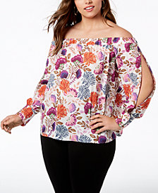 I.N.C. Plus Size Off-The-Shoulder Blouse, Created for Macy's