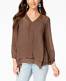 Style & Co Lace-Yoke Handkerchief-Hem Top, Created for Macy's