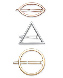 I.N.C. Tri-Tone 3-Pc. Set Geometric Hair Barrettes, Created for Macy's