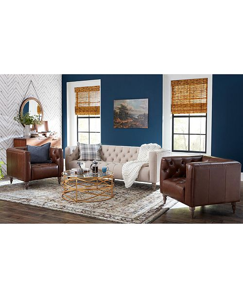 Furniture CLOSEOUT! Tosi Leather and Fabric Sofa Collection ...