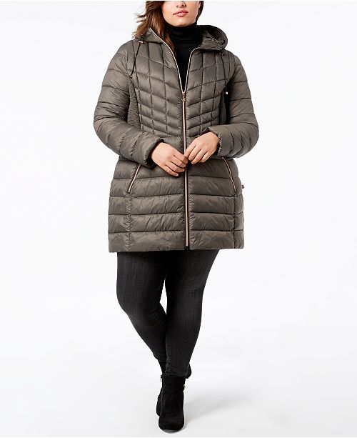 7601e9d3f0f Bernardo Plus Size Packable Puffer Coat   Reviews - Coats - Women ...
