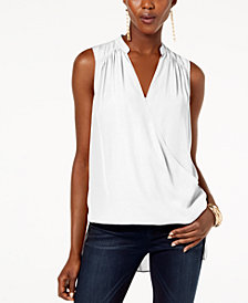 I.N.C. High-Low Surplice-Neck Top, Created for Macy's