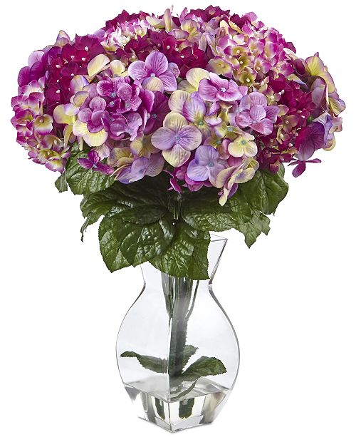 Nearly Natural Dark Pink Beauty Hydrangea Artificial Arrangement with Teardrop Glass Vase