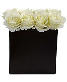 White Rose Artificial Arrangement in Black Vase