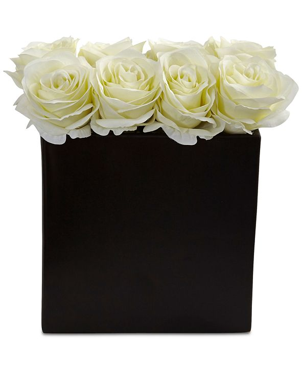 Nearly Natural White Rose Artificial Arrangement in Black Vase