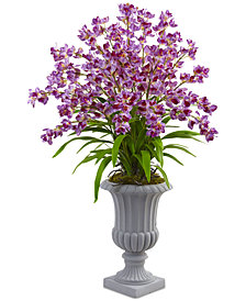 Nearly Natural Giant Blooming Purple Orchid Artificial Arrangement with Urn