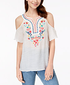 BCX Juniors' Embroidered Cold-Shoulder Top