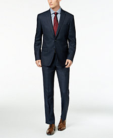 DKNY Men's Slim-Fit Blue/Tan Windowpane Suit Separates