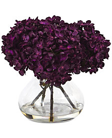 "Nearly Natural 8.5""H Hydrangea Artificial Flower Arrangement with Glass Vase"