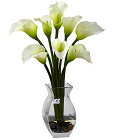 Nearly Natural Classic Calla Lily Artificial Arrangement in Glass Vase