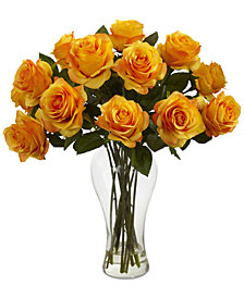 Nearly Natural Blooming Roses Artificial Arrangement in Glass Vase
