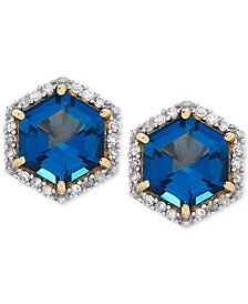 London Blue Topaz (2 ct. t.w.) & Diamond (1/5 ct. t.w.) Stud Earrings in 14k Gold