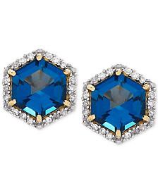 London Blue Topaz (2 ct. t.w.) & Diamond (1/5 ct. t.w.) Stud Earrings in 14k Gold