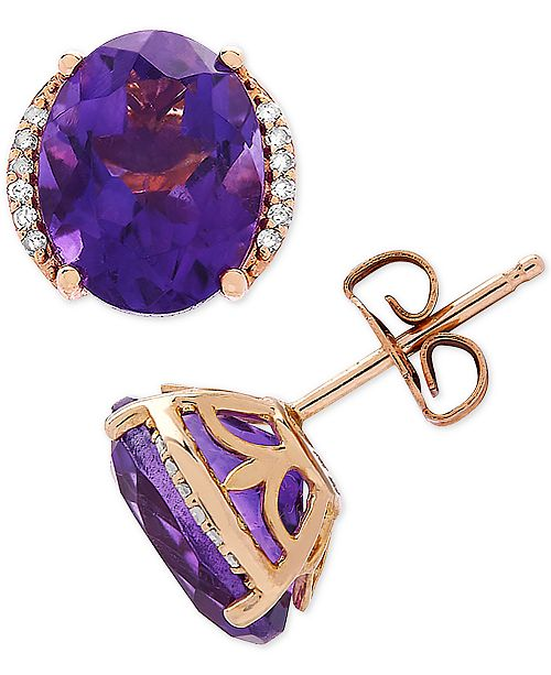 Bronzarte Amethyst (3-1/5 ct. t.w.) & Diamond Accent Stud Earrings in 14k Gold