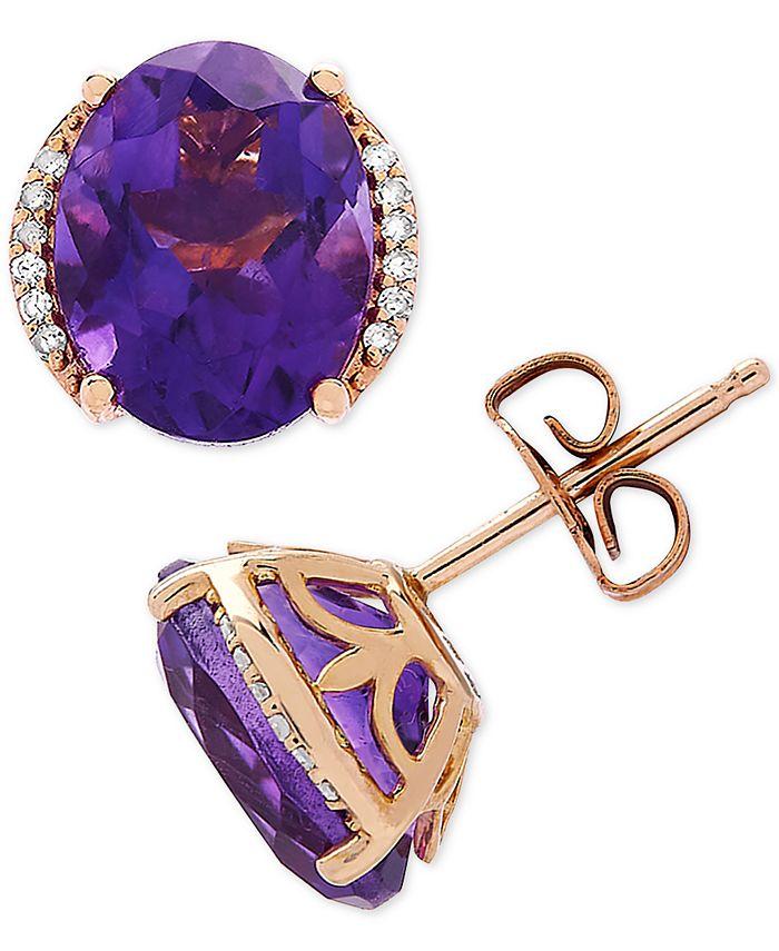 Macy's - Amethyst (3-1/5 ct. t.w.) & Diamond Accent Stud Earrings in 14k Gold
