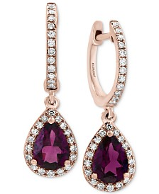 EFFY® Rhodolite Garnet (1-1/2 ct. t.w.) & Diamond (1/4 ct. t.w.) Drop Earrings in 14k Rose Gold
