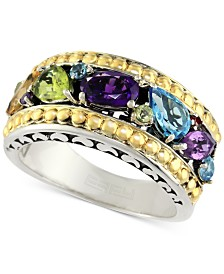 EFFY® Multi-Gemstone Ring (1-5/8 ct. t.w.) in Sterling Silver & 18k Gold