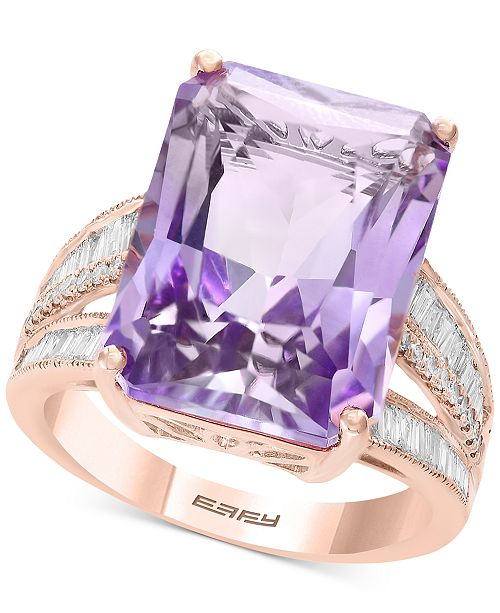 EFFY Collection EFFY® Pink Amethyst (15-1/2 ct. t.w.) & Diamond (3/8 ct. t.w.) in 14k Rose Gold (Also Available in Citrine)