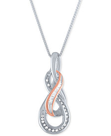 "Diamond Swirl 18"" Pendant Necklace (1/10 ct. t.w.) in Sterling Silver & 14k Rose Gold-Plate"