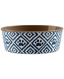 TarHong Paw Ikat Indigo Small Pet Bowl