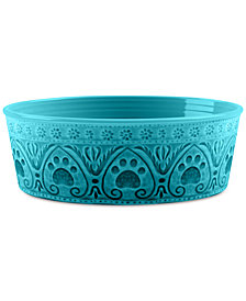 TarHong Medallion Paw Print Teal Small Pet Bowl