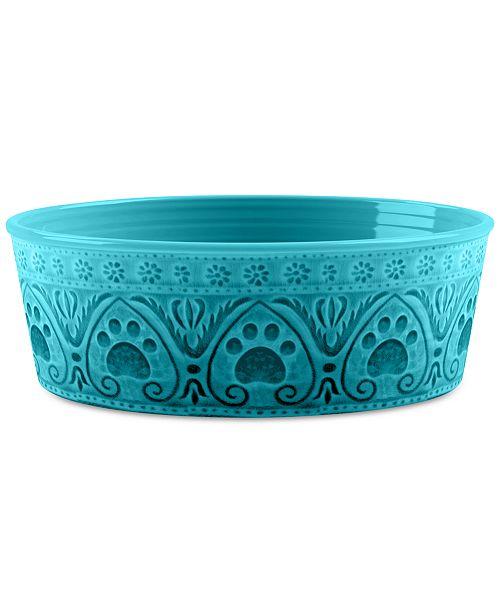 TarHong Medallion Paw Print Teal Small Pet Bowl