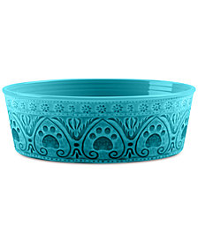 TarHong Medallion Paw Print Teal Medium Pet Bowl