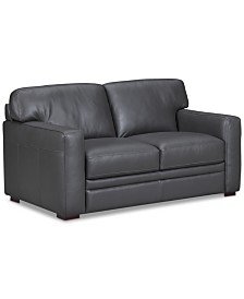 """Avenell 62"""" Leather Loveseat, Created for Macy's"""